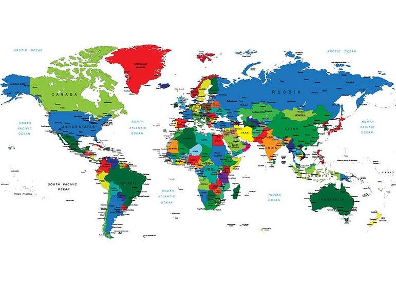 Dünya Haritası Duvar Kağıdı | 3 Boyutlu Dünya Haritası Duvar Kağıdı