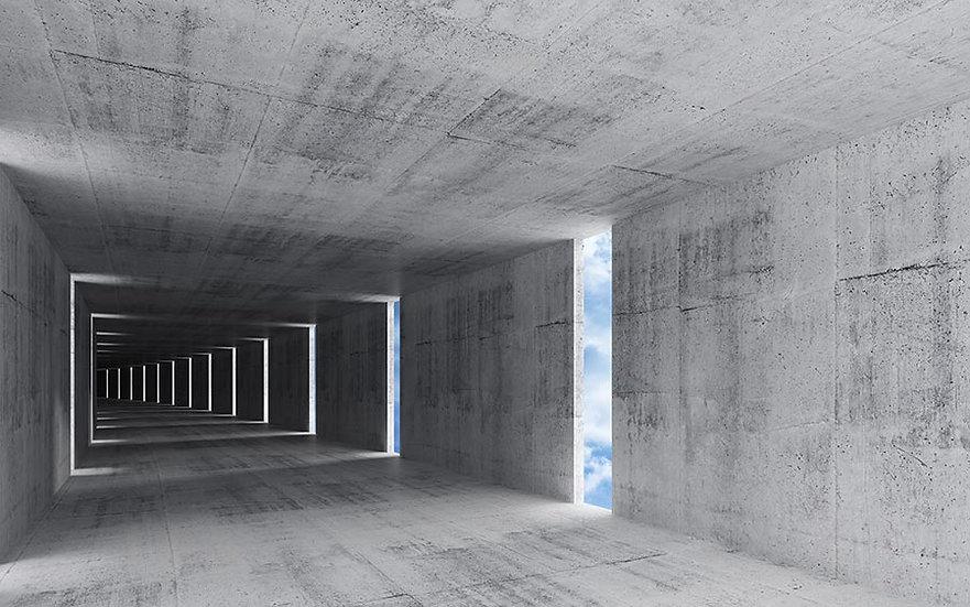 3D Beton İç Arka Plan Duvar Kağıdı | Muhteşem Soyut Tünel Duvar Kağıtları