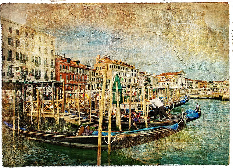 3 Boyutlu İtalya Duvar Kağıtları | Muhteşem Gondol Limanı Duvar Kağıtları