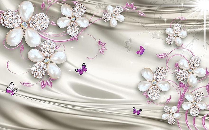 Mücevher İle 3D Tasarım Duvar Kağıdı | Dokulu Tv Ünitesi Duvar Kağıtları