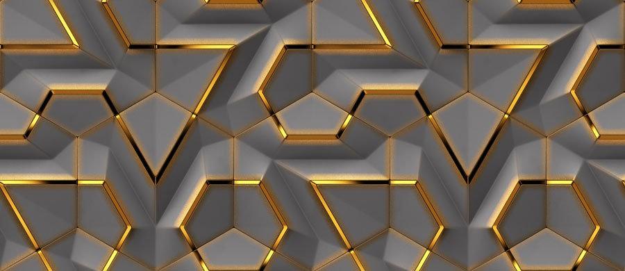 3D Altın Grin Desen Duvar Kağıdı | Gold Görselli Duvar Posterleri