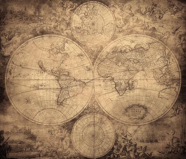 İki Dünya Haritası | 3D İki Dünya Haritası Duvar Posteri | Muğla