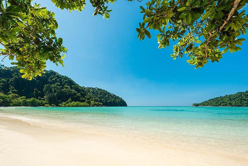 3 Boyutlu Sahil Duvar Kağıtları | Tropikal Ada Sahili Duvar Kağıtları