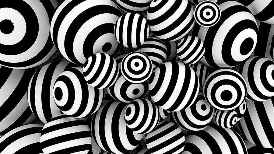 3 Boyutlu Tasarım Duvar Kağıtları | Siyah beyaz 3D Bozulma Top Duvar Kağıtları