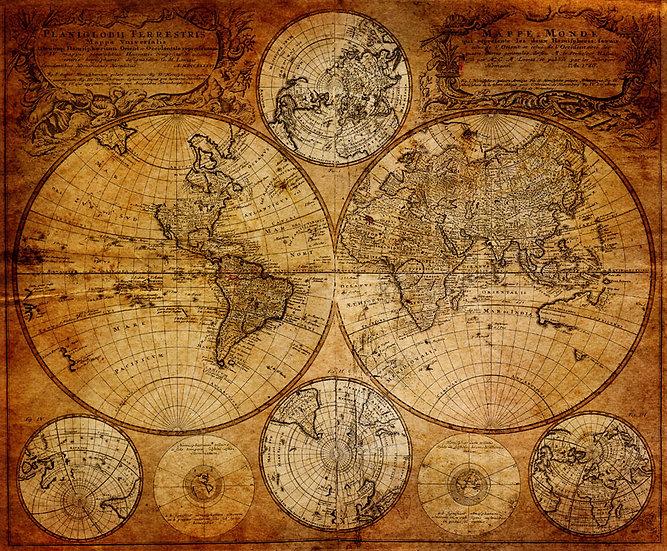 Eskitilmiş Dünya Haritası | 3D Eskitilmiş Dünya Haritası Duvar Posteri | Mersin