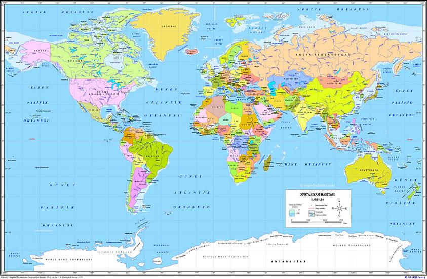 Dünya Haritası | 3D Dünya Haritası Duvar Posteri | Hatay