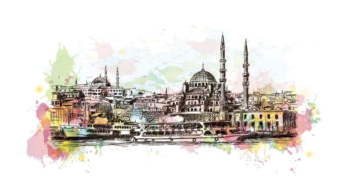 Istanbul Siluliet Sulu Boya Calismasi Duvar Kagidi Duvka Com