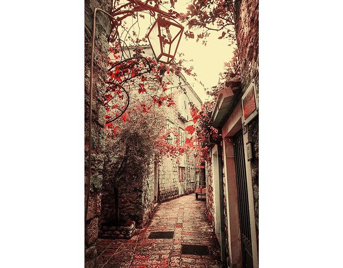 3D Sonbahar Sokakları Duvar Kağıtları | Sokak Manzara Duvar Kağıtları