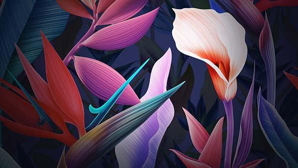 Renkli Çicek Tasarım Duvar Kağıdı | Oturma Odası Duvar Kağıdı | Duvar34.com