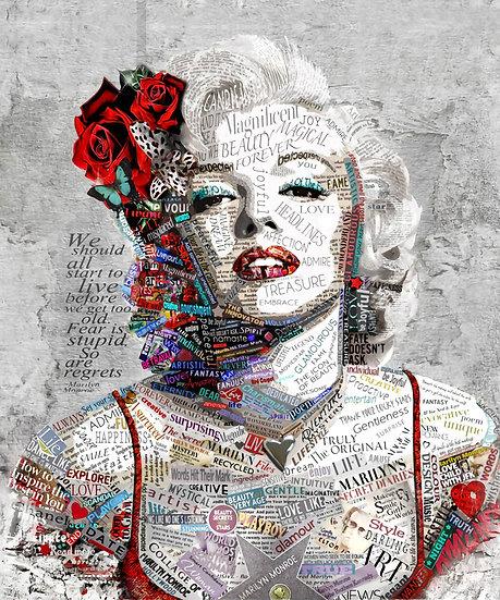 Marilyn Monroe 3D Duvar Kağıdı | 3D Marilyn Monroe Tipografi Duvar Kağıdı