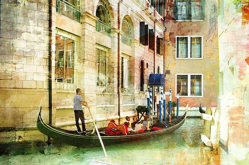 3 Boyutlu Gondol Gezisi Duvar Kağıtları | Muhteşem Retro Venedik Duvar Kağıtları