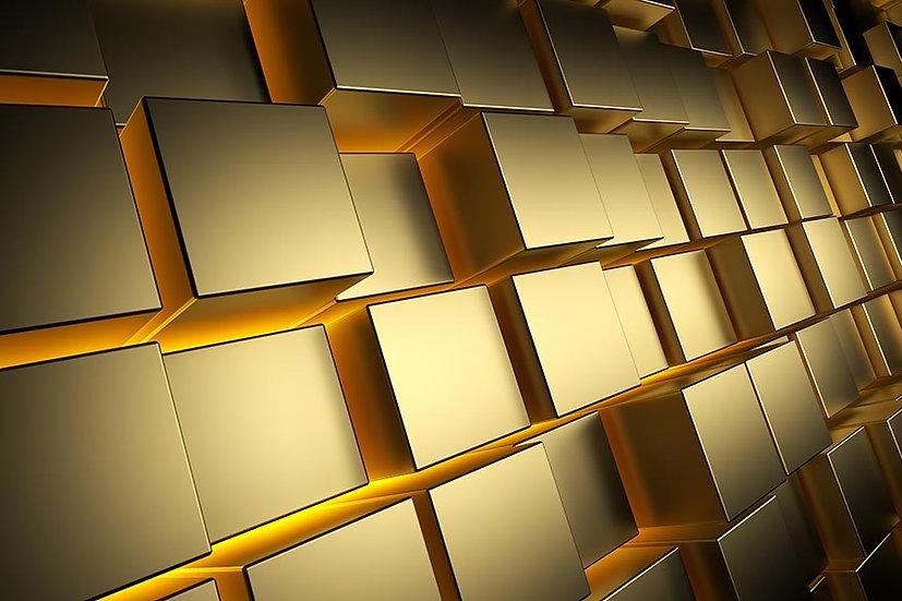 3 Boyutlu Altın Kareler Duvar Kağıdı