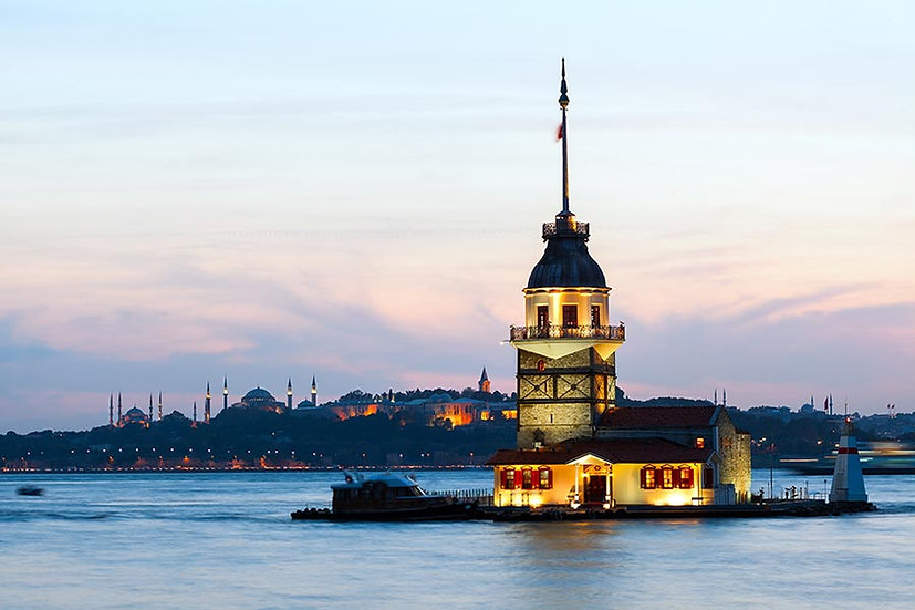 3 Boyutlu Kız Kulesi Duvar Kağıdı | HD Gece İstanbul Manzara Duvar Kağıtları
