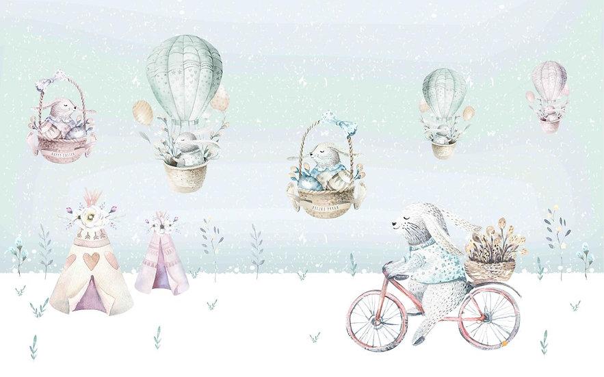 Balonda Uçan Tavşanlar Duvar Kağıdı | Bebek Odası Duvar Kağıdı Modelleri