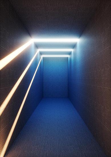 3 Boyutlu Mavi Ledli Tünel Duvar Kağıtları | Mavi Tünel Duvar Kağıtları
