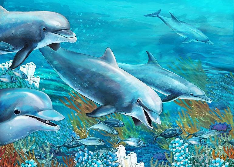 3 Boyutlu Sualtı Balık Duvar Kağıtları   Efsane Yunuslar Duvar Kağıtları