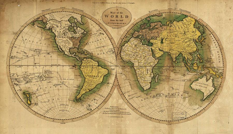 Renkli İki Dünya Haritası | 3D Renkli İki Dünya Haritası Duvar Posteri | Van