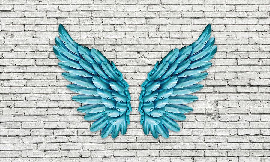 Blue Angel HD Duvar Kağıtları | 3D Mavi Melek Kanadı Duvar Kağıtları | İstanbul