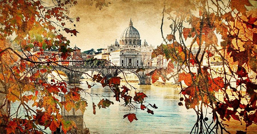 3 Boyutlu İtalya Roma Duvar Kağıtları   HD Roma'da Sonbahar Duvar Kağıtları