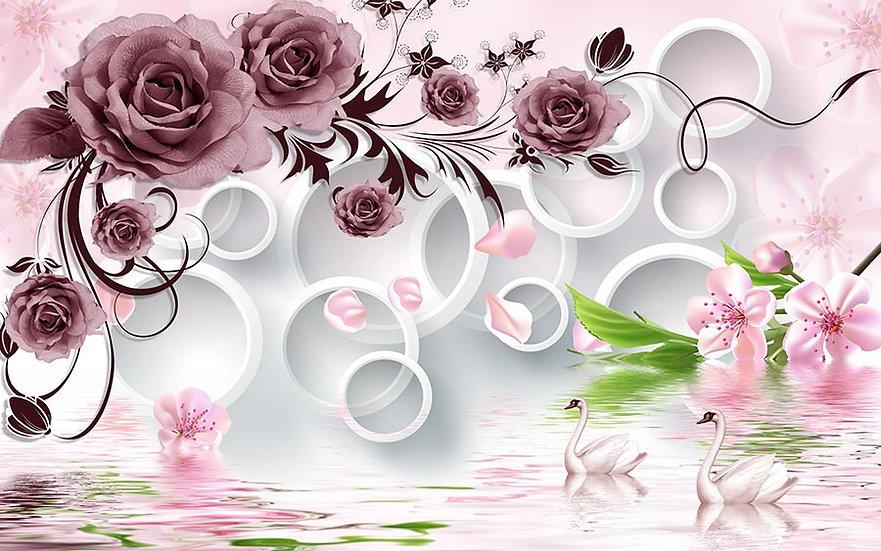 3 Boyutlu Kuğulu Çiçekler Duvar Kağıtları
