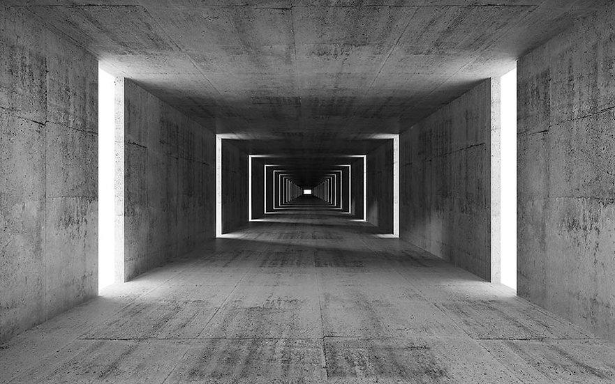 3D Derin Beton İç Arka Plan Duvar Kağıdı | Muhteşem Soyut Tünel Duvar Kağıtları