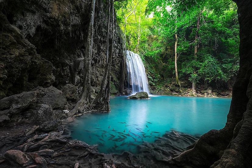 HD Tropikal Yağmur Ormanı Duvar Kağıdı | Full HD Erawan Şelalesi Duvar Kağıtları