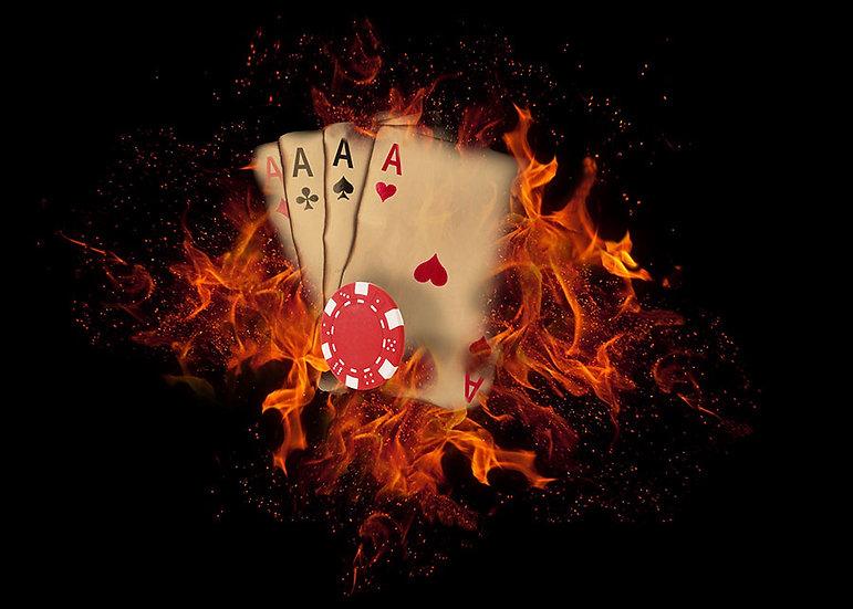 3 Boyutlu Kumarhane Duvar Kağıtları   Ateşli Poker Kartları Duvar Kağıtları