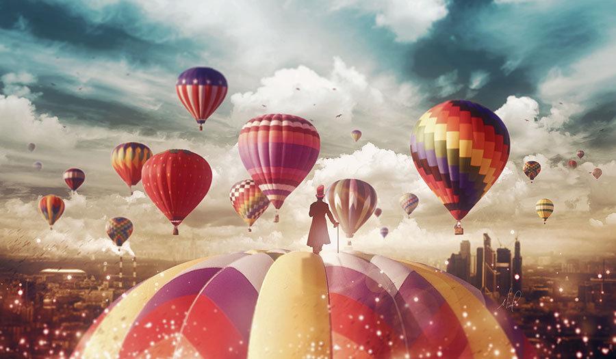 Full HD Görselli Duvar Kağıtları | 3D Uçan Balonlar Kapadokya Duvar Kağıtları