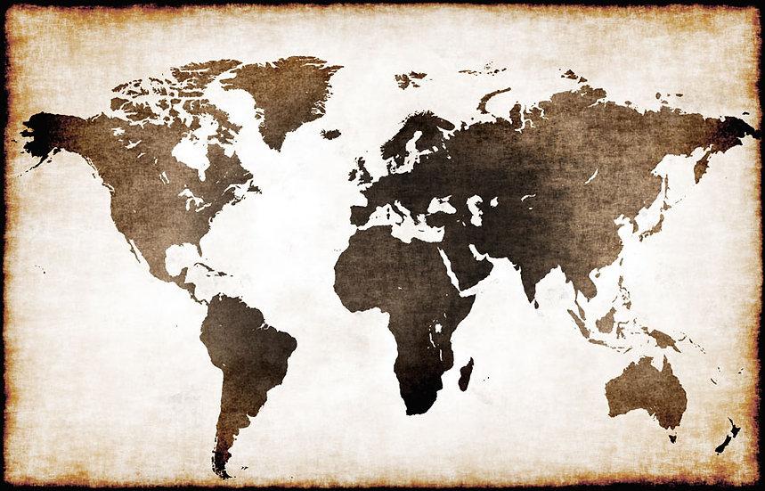 Eskitilmiş Dünya Haritası | 3D Eskitilmiş Dünya Haritası Duvar Posteri | Kars