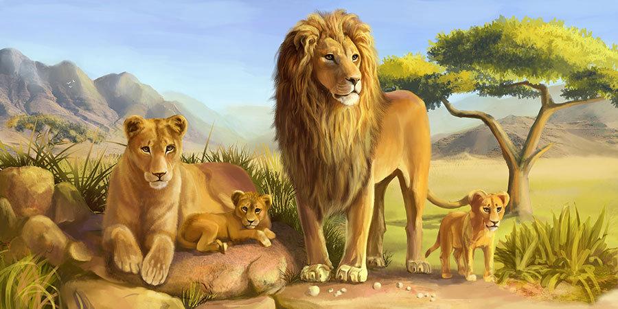3D Aslan Ailesi Duvar Kağıtları | Kabartmalı Lion Çocuk Odası Duvar Kağıtları