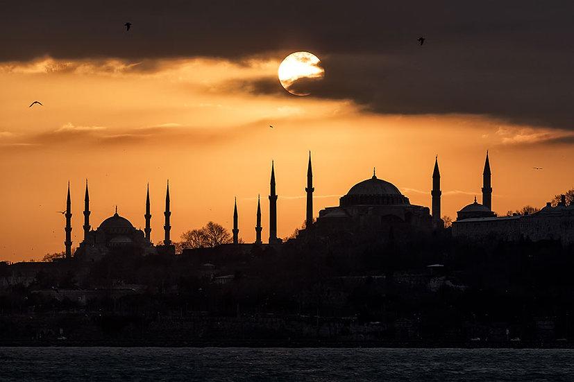 Ayasofya ve Sultanahmet Camii Gün Batımı Duvar Kağıtları | İstanbul Duvar Kağıdı