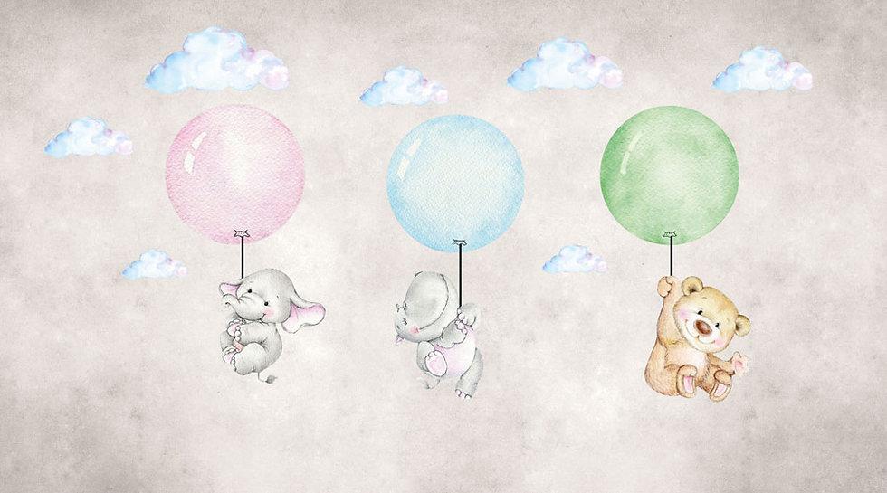 Fil, Su Aygırı ve  Ayı Balonla Uçuyorlar 3D Duvar Kağıdı