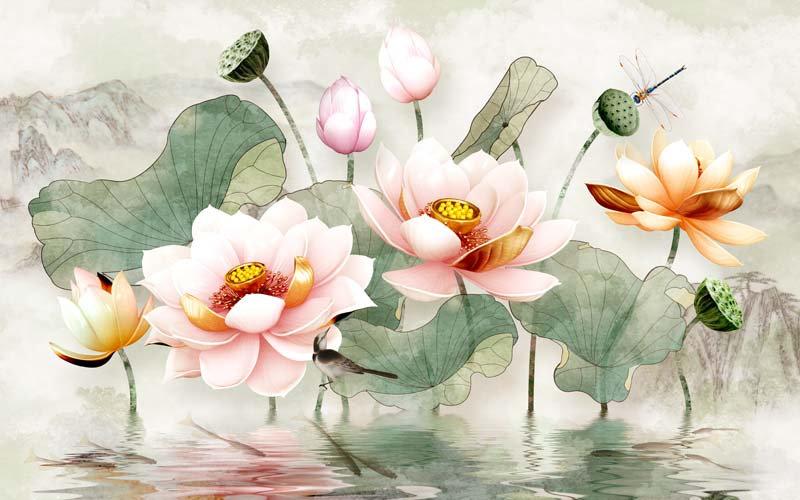Nilüfer Çiçeği Duvar Kağıdı | Yatak Odası Duvar Kağıdı | Duvar34.com