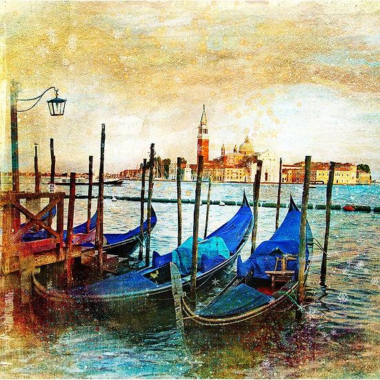 3 Boyutlu Gondol Duvar Kağıtları | Muhteşem Retro Venedik Duvar Kağıtları