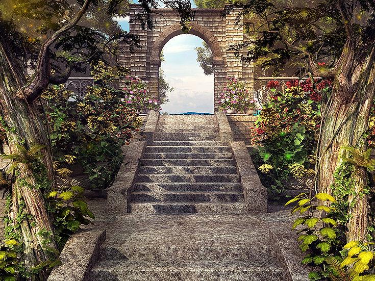 3 Boyutlu Merdivenli Tünel Duvar Kağıdı   1 m2 fiyatı