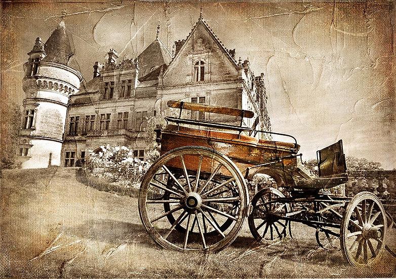 3D Eski At Arabası Duvar Kağıdı | Full HD Eski Sokak Duvar Kağıtları