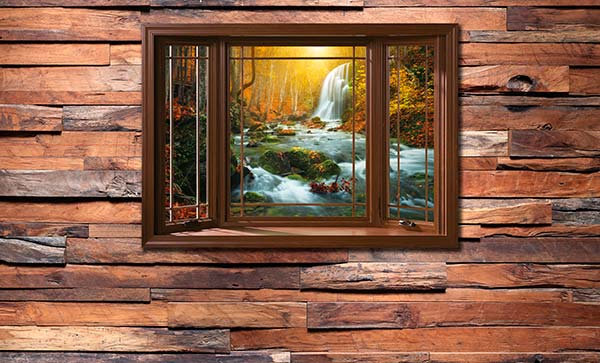 3D Ahşap Pencerede Nehir Manzara Duvar Kağıdı | Efsane Ahşap Duvar Kağıtları