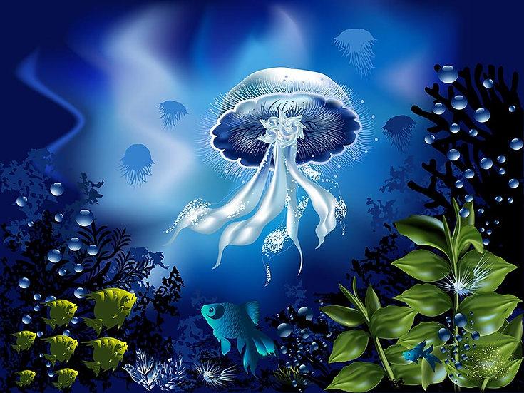 3 Boyutlu Akvaryum Duvar Kağıtları | Efsane Denizanası Duvar Kağıtları