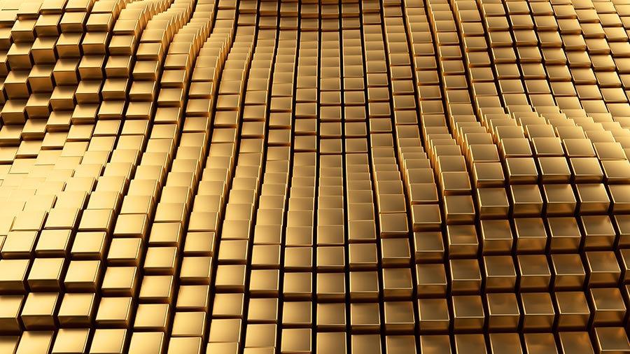 3 Boyutlu İspanya Kağıtları | Kabartmalı Dalgalı Gold Küpler Duvar Kağıtları
