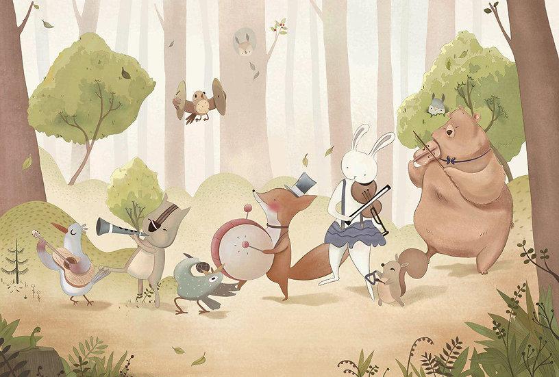 Ormanda Eğlenen Hayvanlar Resimli Bebek Odası Duvar Posteri
