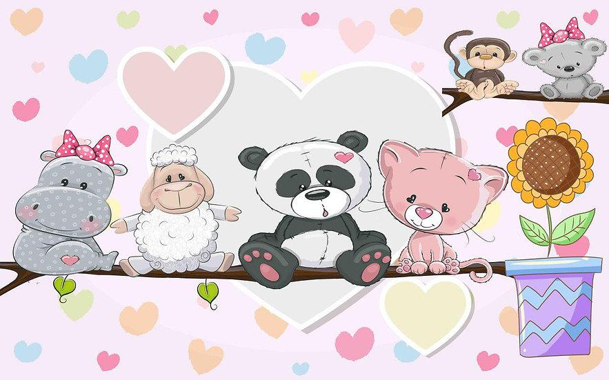 Panda Ayı Koyun Duvar Kağıdı | Bebek Odası Duvar Dekorasyonu