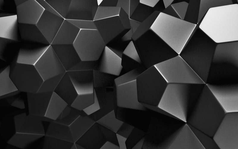 3 Boyutlu Siyah Küp Duvar Kağıdı   Şekilli Siyah Küp Duvar Kağıtları