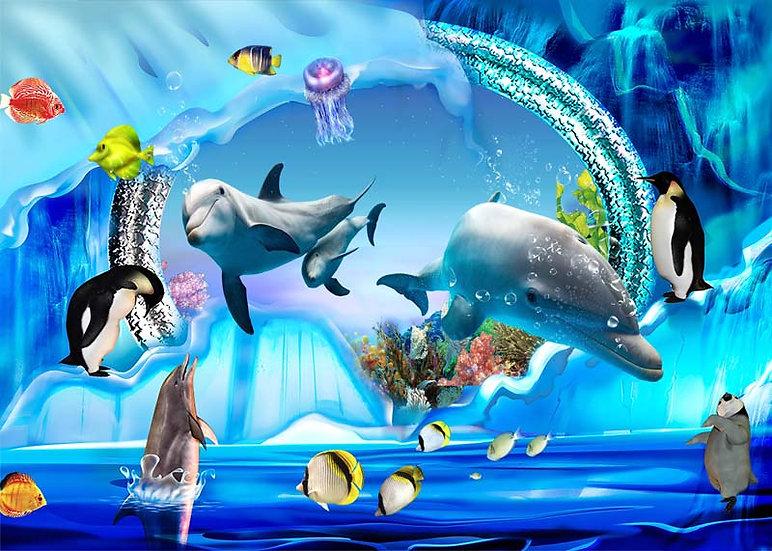 Çocuk Odası Yunus Balıklar Duvar Kağıdı | Yunus Balıklı Duvar Kağıdı | Duvar34