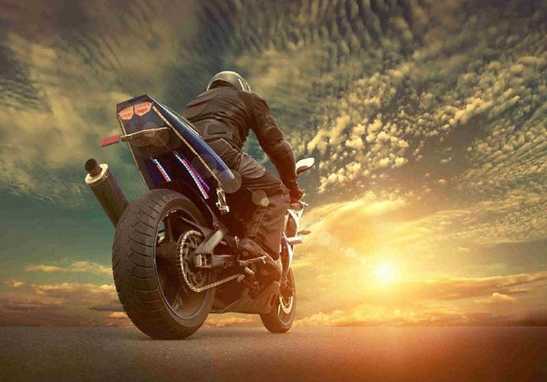 Motor Duvar Kağıdı Modelleri | 3 Boyutlu Gün Batımı Motosiklet Duvar Kağıtları