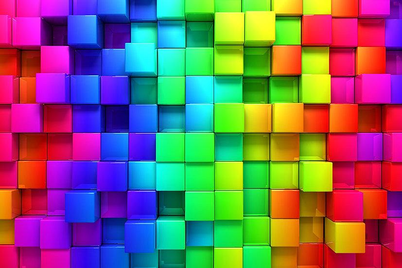 Renkli Küp Tasarım Duvar Kağıdı | Yatak Odası Duvar Kağıdı | Duvar34.com