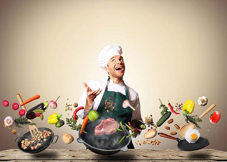 3D Aşçı ve Yemekleri Duvar Kağıdı | 3D Master Chef Duvar Kağıtları