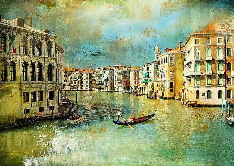 3D Fransa Paris Duvar Kağıdı | Venedik Gondol Turu Duvar Kağıtları
