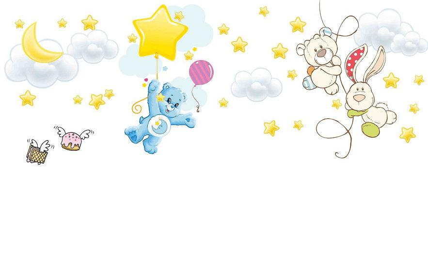 Yıldızlara Yapışmış Uçan Ayılar Çocuk Odası İçin Duvar Kağıtları