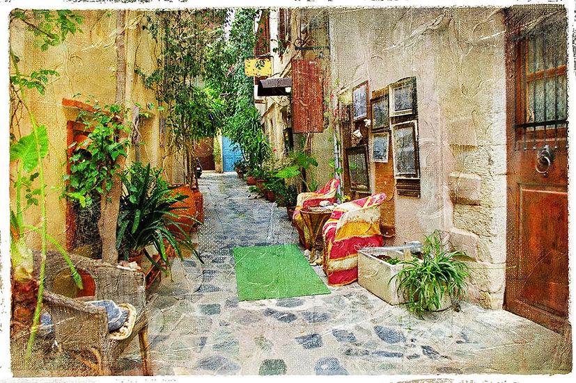 3 Boyutlu Retro Resim Duvar Kağıtları | HD Yunan Sokakları Duvar Kağıtları HD