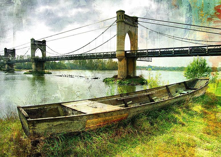 3D Eski Köprü Manzara Duvar Kağıdı   Kürekli Tekne Duvar Kağıtları